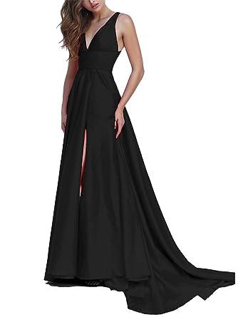 149ba137e8c Ever-Beauty Womens Long V-Neck Satin Prom Dresses 2019 Sleeveless Aline  Evening Gown