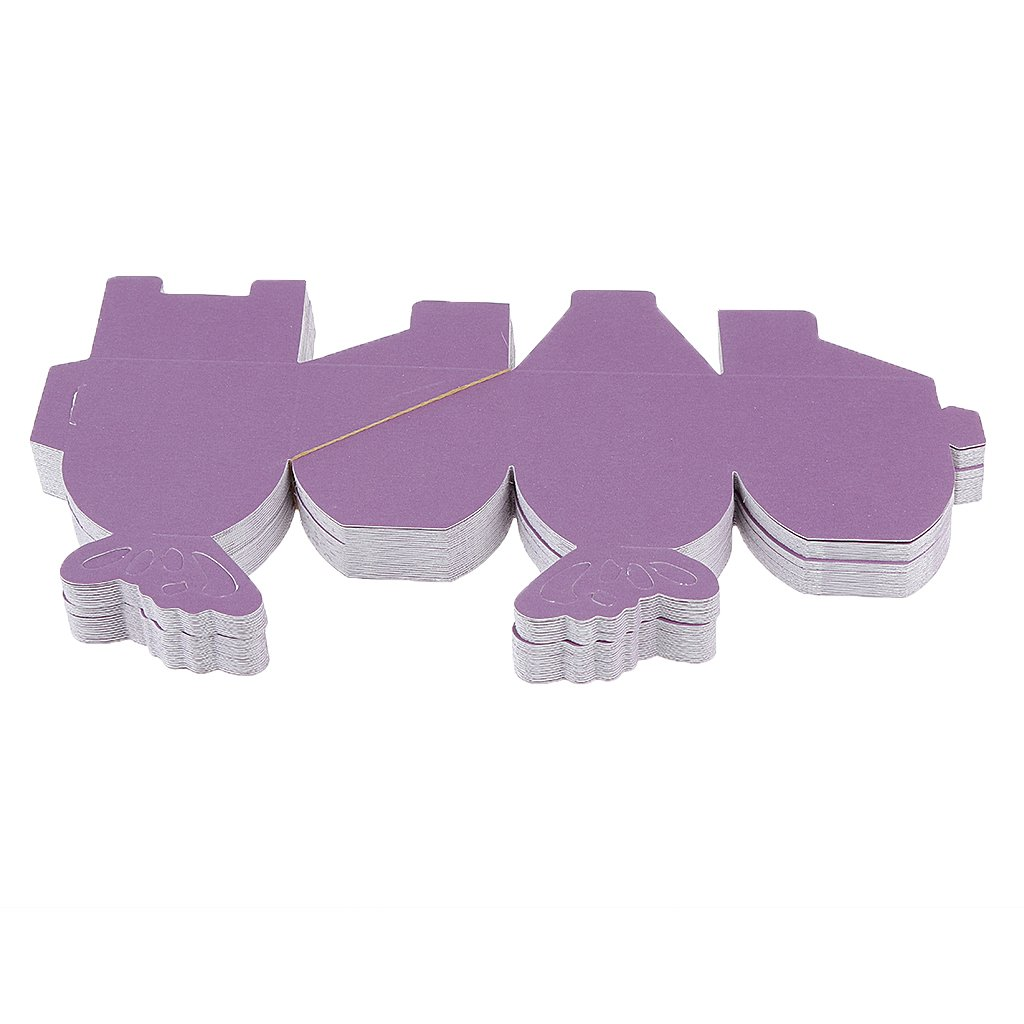6 x 6 x 6cm MagiDeal Butterfly Sweet Candy Gift Boxes Baby Shower Wedding Party Favor Pack of 50 Purple