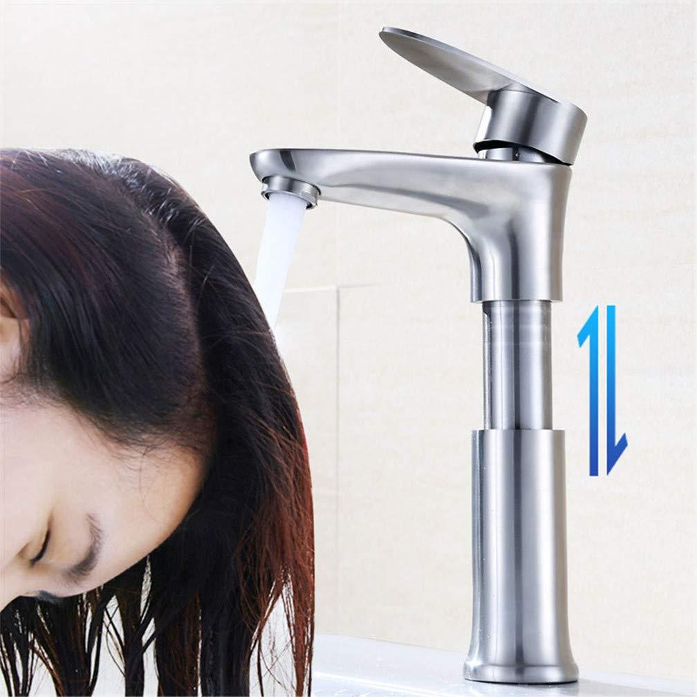 Brushed Process LHY BATHLEADER Wasserhahn h/öhenverstellbar 304 Edelstahl Becken Wasserhahn f/ür Bad K/üche Garderobe