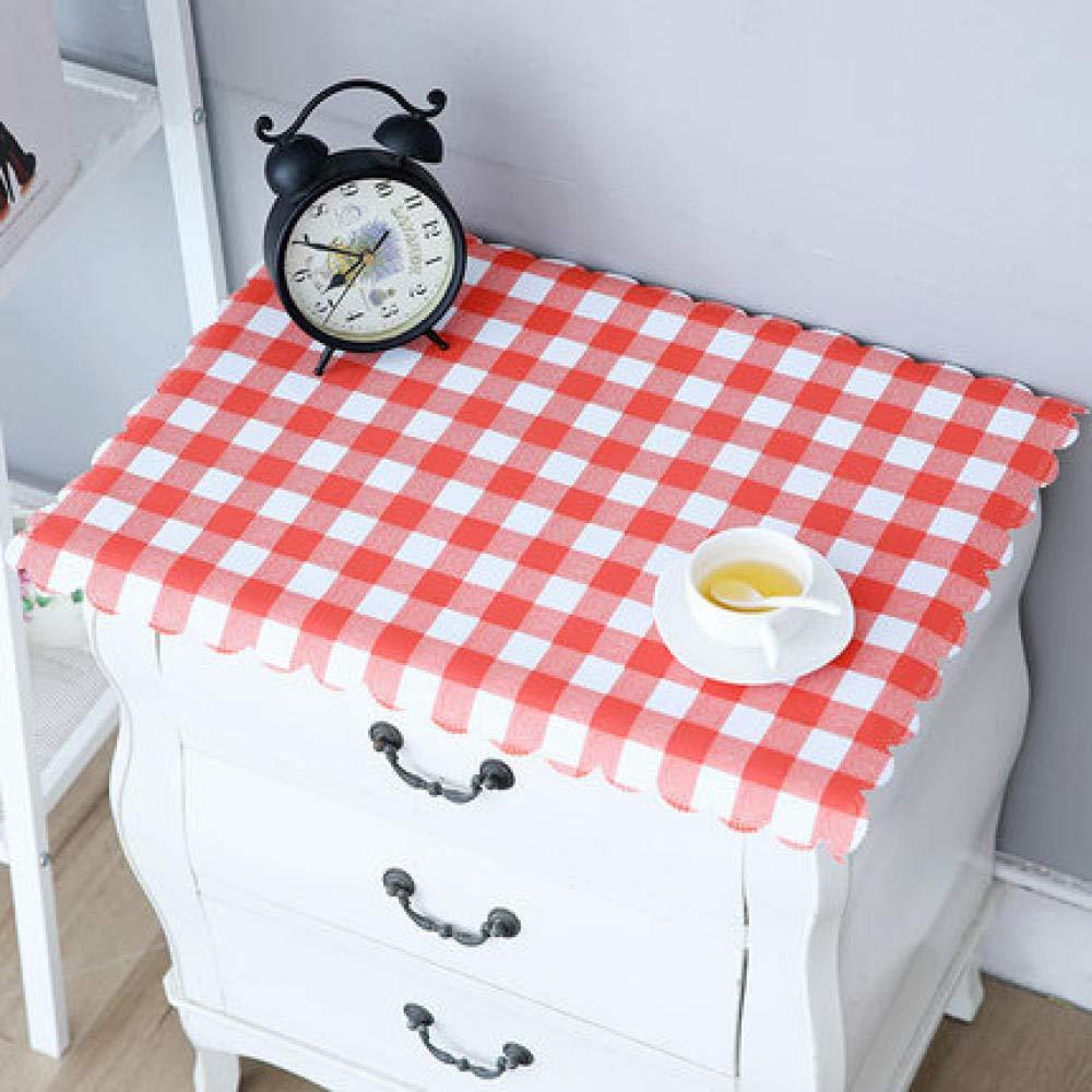 WJJYTX tischdecke Plastik, Nachttischdecke Abwischbare Vinyl-Tischdecke Stilvolles Muster Wasserdichtes kleines Quadrat Gartenrot @ 40 * 50