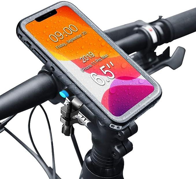 SPORTLINK Soporte Movil Bicicleta para iPhone 11 Pro MAX - Soporte Moto & Funda Impermeable iPhone 11 Pro MAX, Porta Bike Mount para 20-35 mm Manillar ...