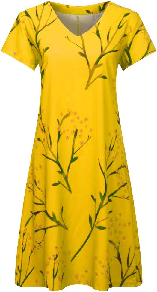 Yellow,XXL Summer Dresses For Women Clearance Casual Summer Leaf Print V-Neck Short Sleeve T-shirt Dress Mini Dress For Anniversary,Party,Valentines Day