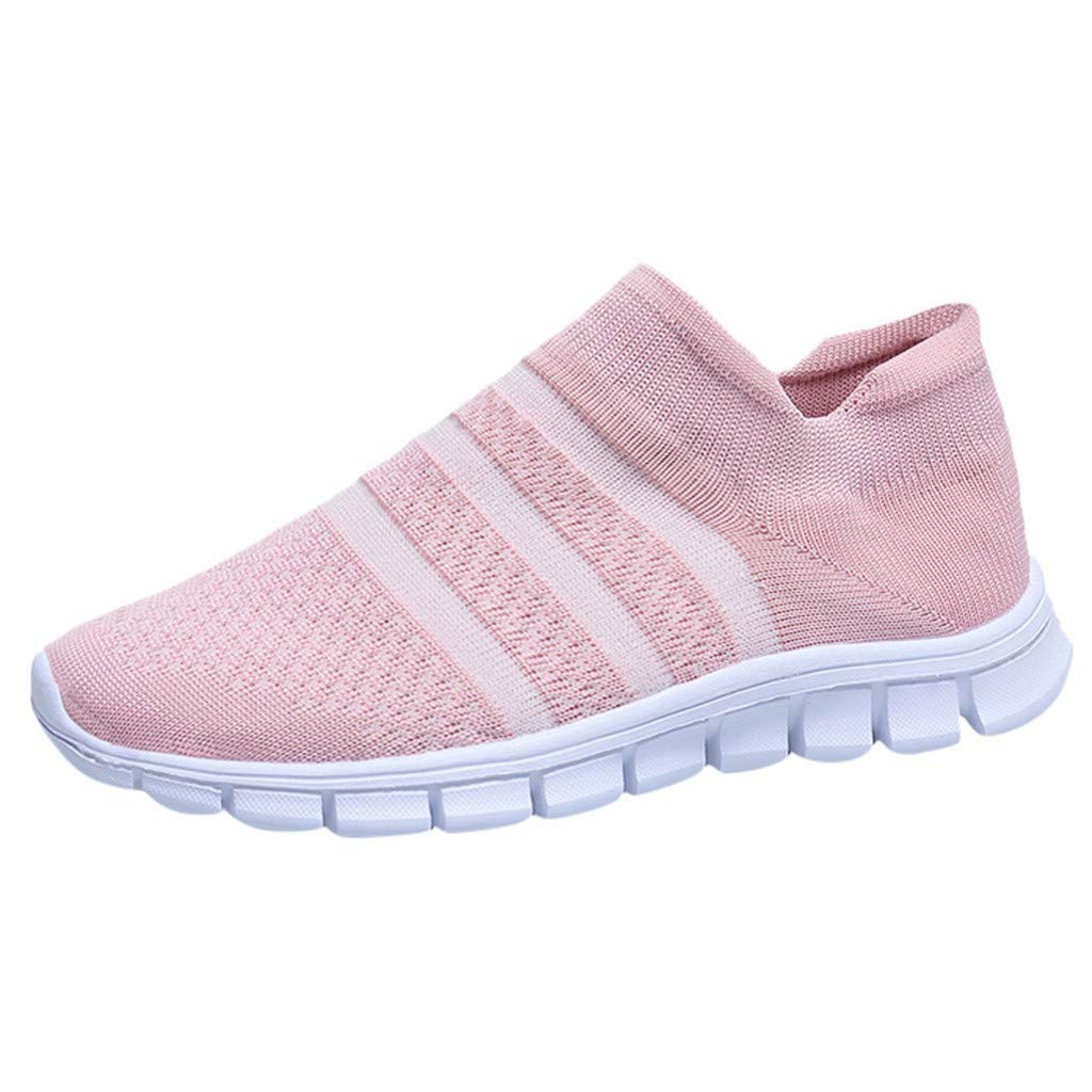 Rmeioel Women's Mesh Non-Slip Breathable Socks Shoes Sneakers Casual Stripe Lightweight Soft Student Running Shoes by Rmeioel