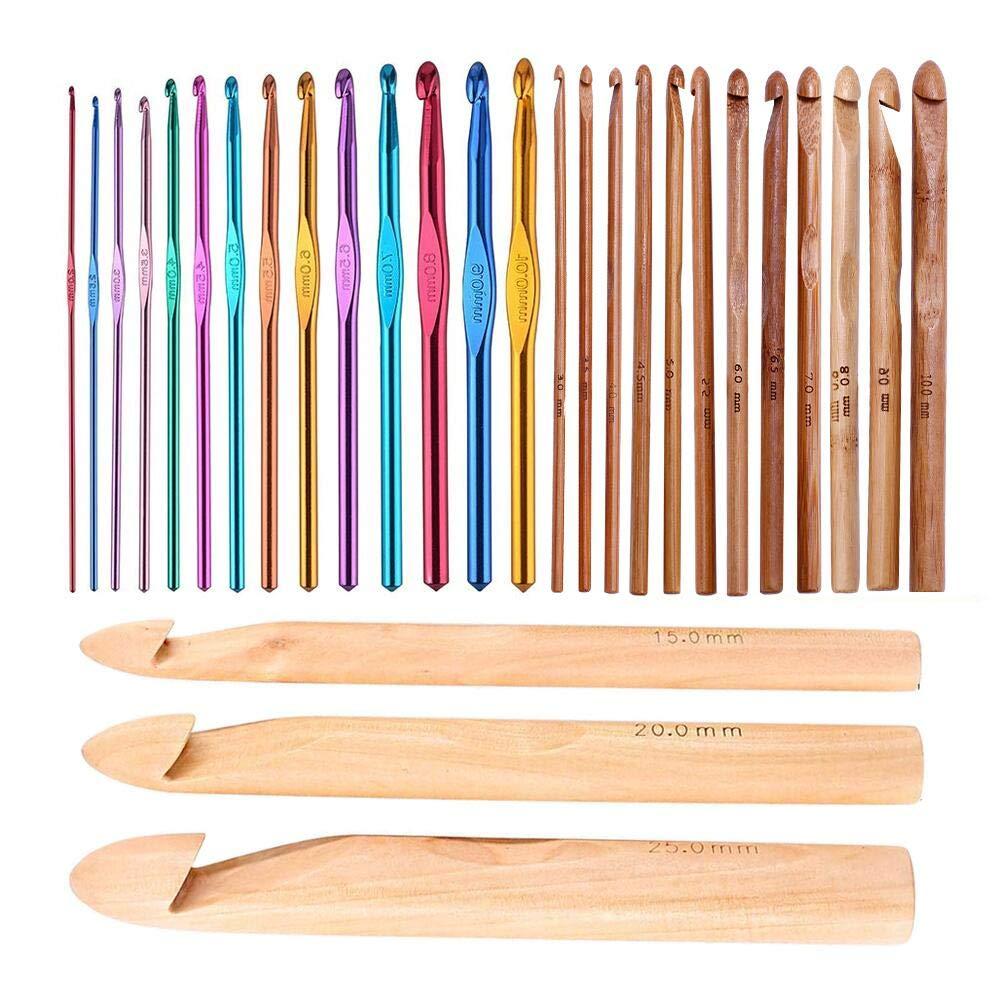 29 Pcs Crochet Hooks Kit, Including 3mm-25mm 15Pcs Assorted Sizes Wooden Bamboo Crochet Hooks and 14Pcs Aluminum 2-10 mm Handle Crochet Hooks for Handcrafted Knitting Needles