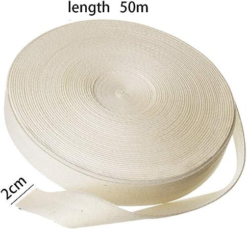 Ganquer - Delantal de sarga con cinta de espiga de mezcla de algodón para costura y decoración del hogar, No nulo, Blanco, 50m x 2.0cm: Amazon.es: Amazon.es