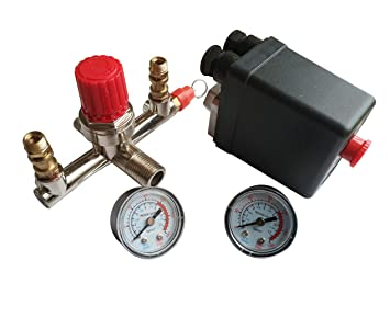 Interruptor de presión durable de la bomba del compresor de aire con medidor reguladores de control de válvulas: Amazon.es: Bricolaje y herramientas