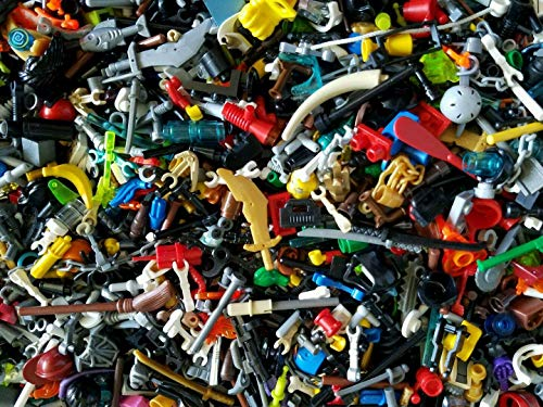 (LEGO BULK LOT OF 100 NEW MINIFIGURE ACCESSORIES TOOLS WEAPONS MINIFIG PARTS (US Seller))