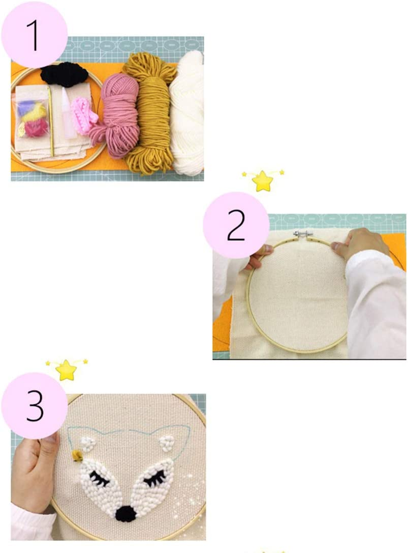DIY Latch Hook Kits with Punch Needle Lionet Embroidery Frame Rug Hooking Kit for Adults Kids Beginner
