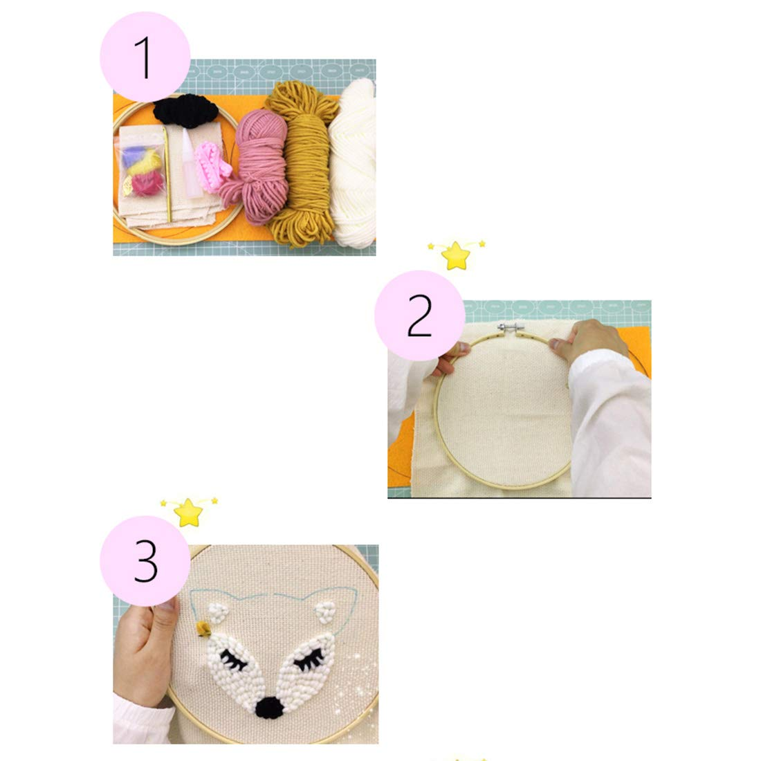 HMANE DIY Rug Hooking Kit Handcraft Woolen Embroidery Knitting with Punch Needle Embroidery Frame Creative Gift with Punch Needle Embroidery Frame Little Fox