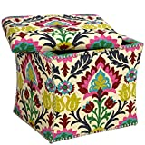 Blue, Cream, Green, Pink, Red and Yellow Fabric, Square Shape Storage Ottoman and Floral Pattern Includes a Cross Scented Tart