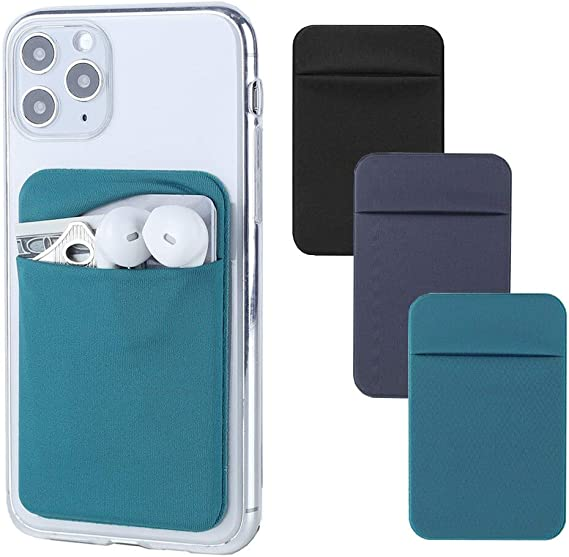 3Pack Cell Phone Card Holder for Back of Phone,Stretchy Lycra Stick on Wallet Pocket Credit Card ID Case Pouch Sleeve 3M Adhesive Sticker for iPhone Samsung Galaxy Android-Dark Green&Blue Gray&Black