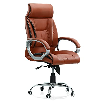 FurniTrue Tokyo High Back Office Chair (Rust Orange)