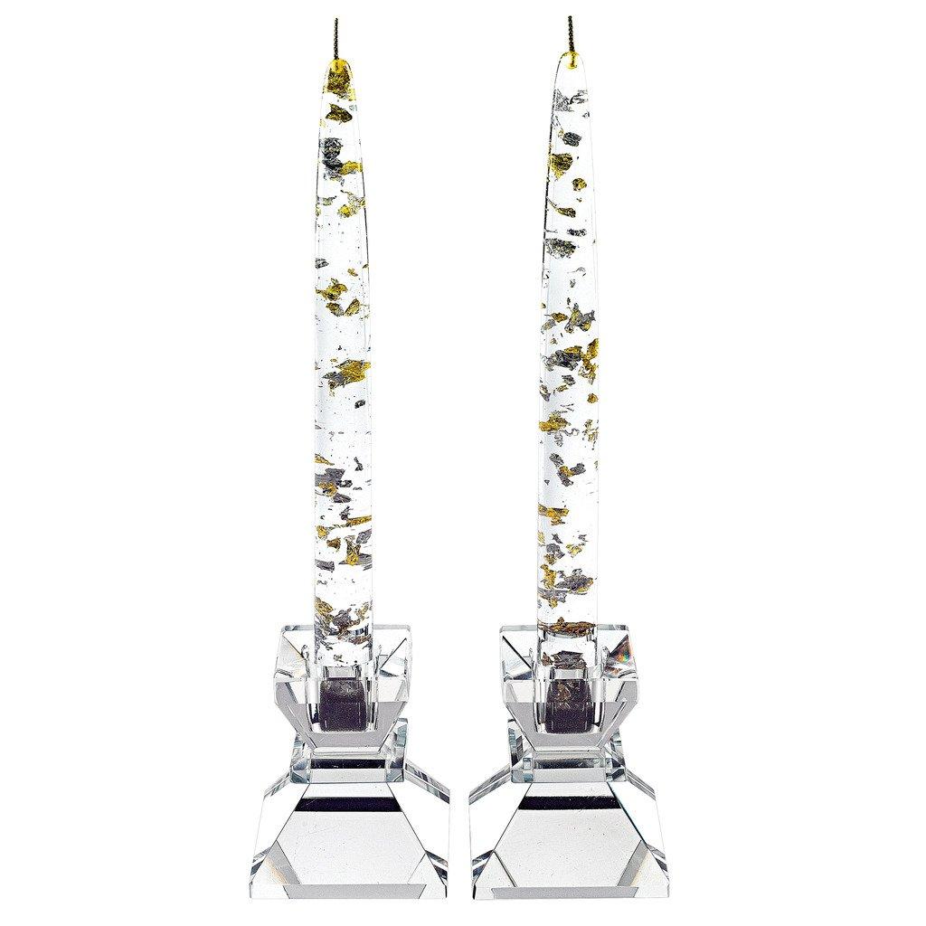 Badash - Silver/Gold Fleck 8 in. Acrylic Decorative Non Lighting Candle 1 Doz.