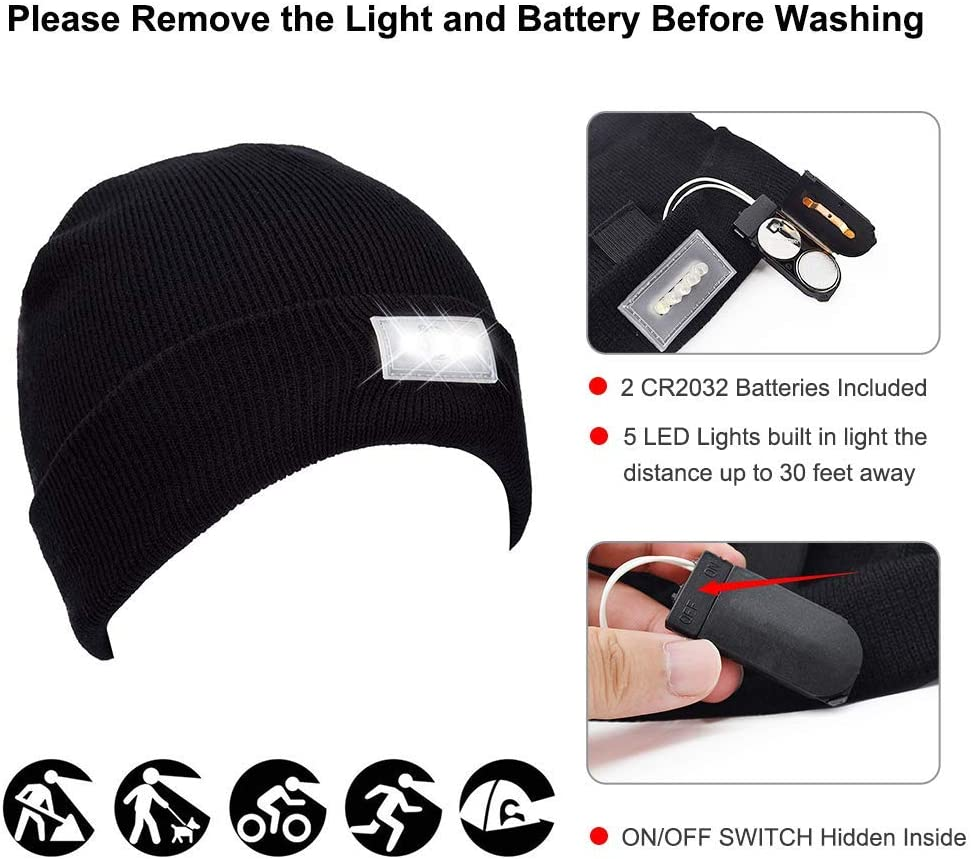 Ohderii Unisex 5 LED Beanie Hats,Winter Lighted Hats with Replaceable Batteries for Outdoors Sports,Auto Repair Black Camping Jogging Fishing for Men Women