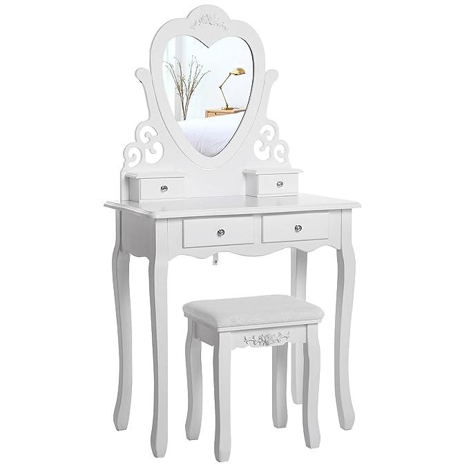 SONGMICS Encantador Tocador Mesa de Maquillaje 4 Cajones Espejo en Forma de Corazón Taburete Acolchado,Blanco RDT14W