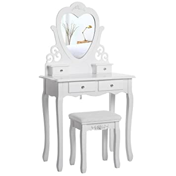 6c8f0e528ce9b5 SONGMICS Dressing Table Set with Stool and Heart shape Mirror Makeup Desk 4  Drawers Vanity Furniture