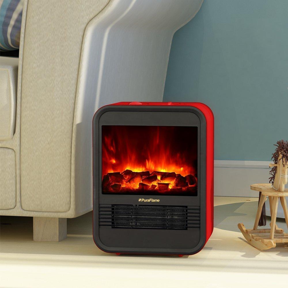 mini electric fireplace heater. Puraflame Clara Red 9 Inch Mini Freestanding Fireplace Heater, 120V/60Hz, 650W/1250W: Amazon.co.uk: Kitchen \u0026 Home Electric Heater