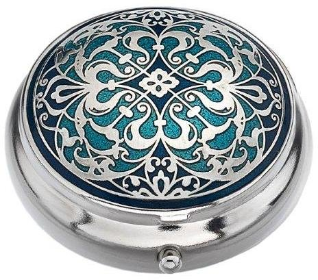 - Pill Box (standard size ) in an Arabesque Design in Blue Color