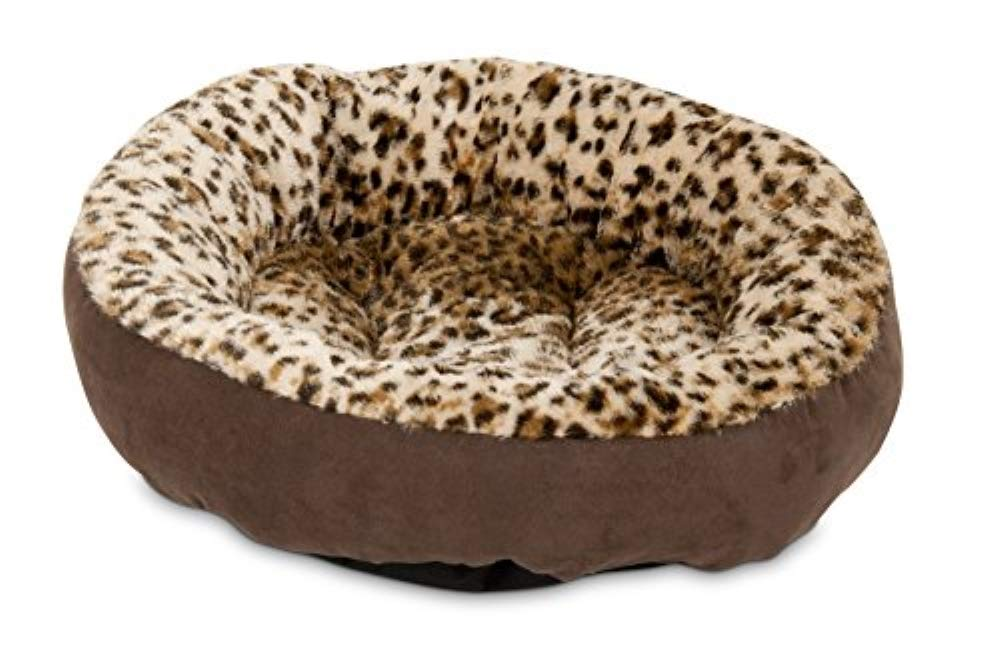 Chocolate Brown 18\ Chocolate Brown 18\ Aspen Pet 18-Inch Round Bed Animal Print
