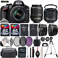Nikon D3200 DSLR Camera in Black + Nikon 50mm 1.8 G Lens + 0.43X Wide Angle Lens + 2.2x Telephoto Lens + 64GB Storage + UV-CPL-FLD Filters + UV Filter + Tripod - International Version