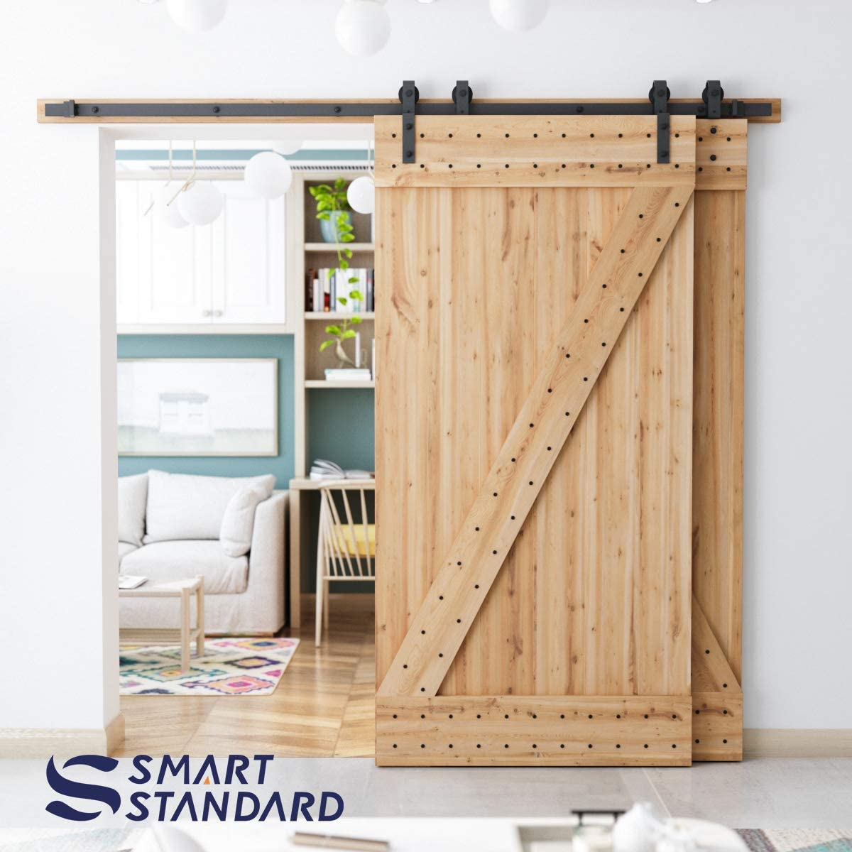 SMARTSTANDARD 6.6ft Bypass Sliding Barn Door Hardware Kit Upgraded One-Piece Flat Track for Double Wooden Doors Easy to Install -Fit 36-40 Wide Door Panel J Shape Hanger Smoothly /&Quietly