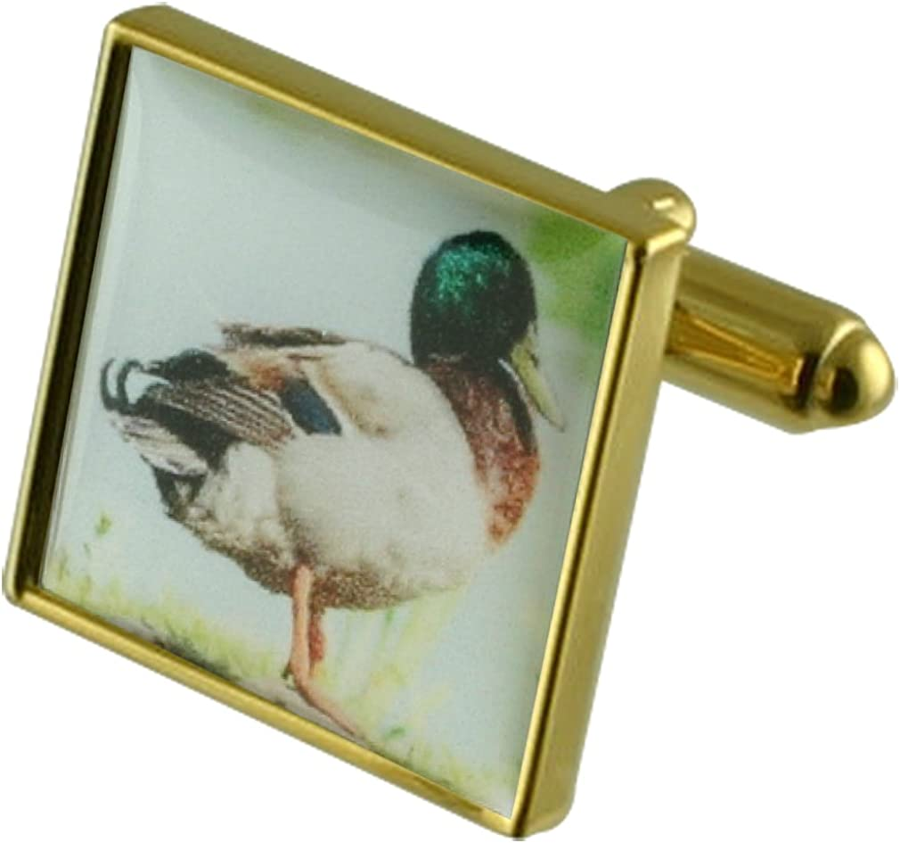 Select Gifts Duck Gold-Tone Square Cufflinks with Engraved Personalised Case