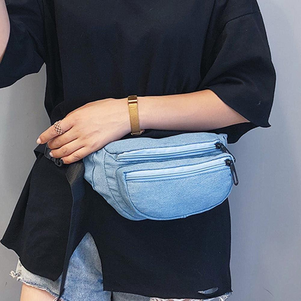 Tuankay Women Casual Denim Waist Handbags Fanny Chest Packs Money Belt Sling Purse
