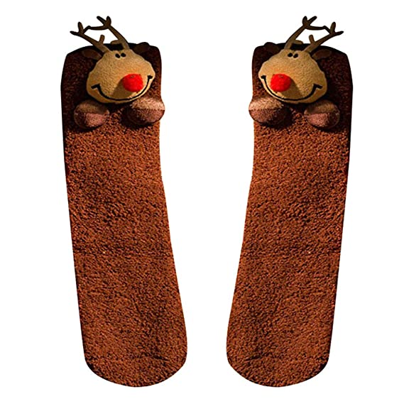 Kinlene Mujeres Niñas Malla Impresión navideña Toalla floral Cálidos cortos dibujos animados calcetines gruesos: Amazon.es: Ropa y accesorios
