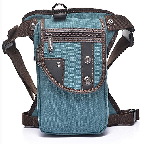 New Mens Canvas Travel Hiking Motorcycle Riding Messenger Military Tactical Cross Body Shoulder Belt Hip Bum Fanny Pack Waist Thigh Drop Leg Bag Outdoor  Blue