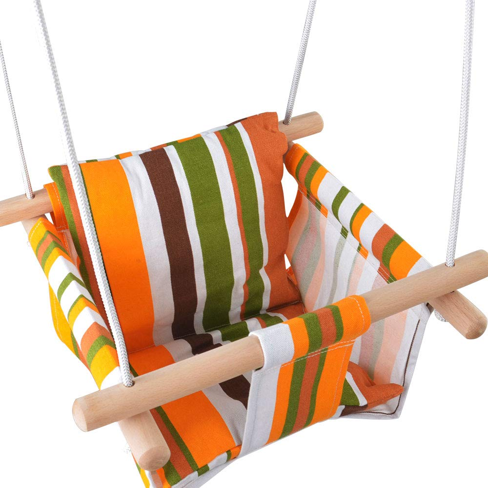 Toddler Baby Hanging Swing Seat Secure Canvas Hammock Chair with Backrest Cushion - Installation Accessories Included (White/Yellow/Green Stripes) KINSPORY