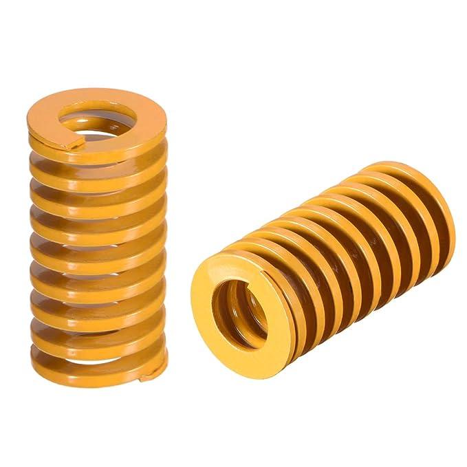 sourcing map 20 mm od 50 mm de largo estampado en espiral molde de compresi/ón de carga ligera muere resorte amarillo