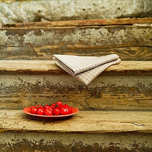 Natural//Red 17 by 27-Inch LinenMe Gingham X2 Tea Towels