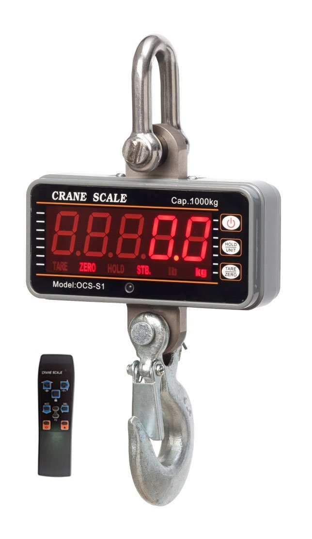 1000 kg Aluminum Digital Crane Scale heavy Duty Compact Hanging LED Display 0.5kg With Remote