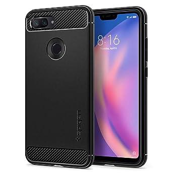 Spigen, Funda para Xiaomi Mi 8 Lite 2018, [Rugged Armor] Absorción de Choque Resistente y diseño de Fibra de Carbono [Compatible con Carga ...