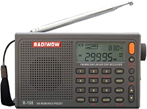RADIWOW R-108 FM Stereo/LW/MW/SW/AIR Band/DSP Full Band Portable Radio with Headphones Jack and Antenna Jack, Sleep Timer and Alarm Clock, 500 Memories preset Stations (100 preset for Each Band).