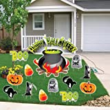 VictoryStore Yard Sign Outdoor Lawn Decorations: Happy Halloween Cauldron Halloween Lawn Decoration set of 13 with 24 Short Stakes.