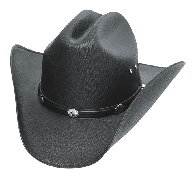 a73f02b720d56 Classic Cattleman Straw Cowboy Hat with Silver Conchos and Elastic Band -  Black - S
