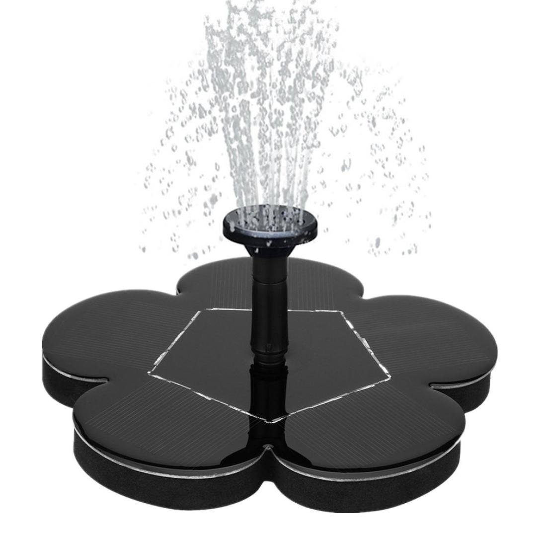 Iusun Solar Fountain Pump, Solar Water Panel Power Fountain Pump Bird Bath Fountain Water Floating Small Pond Garden Patio Decoration (Black)