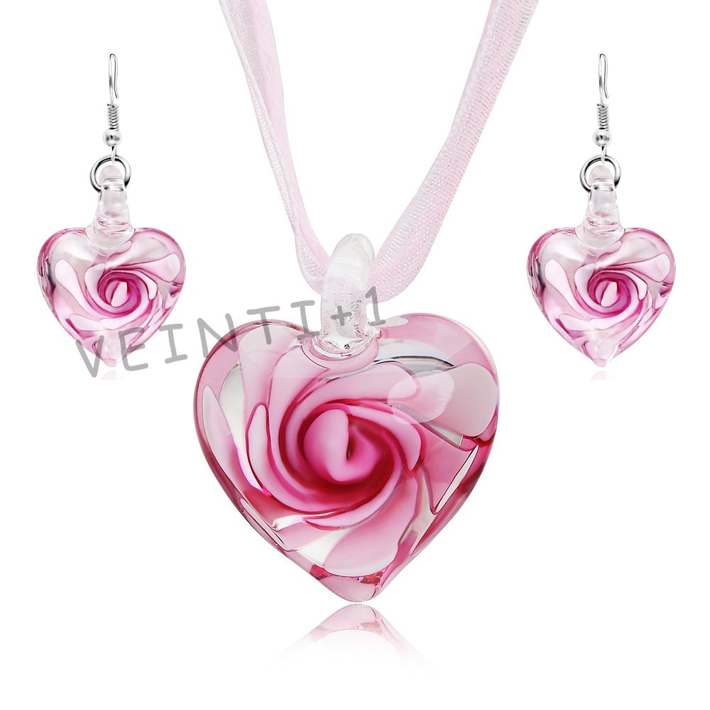 VEINTI+1 Exotic Style Eye-catcher Handmade Romantic Heart with Pink Flower Design Glass Jewelry Set Necklace and Earrings(Pink Set) by VEINTI+1