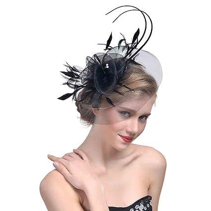 StageOnline Cerchietto con Piuma del Partito Donne Fascinator Cappello per  Accessori di Nuziale del Cocktail 13d66a383b5e