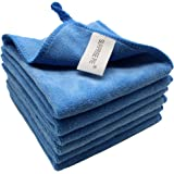 """12""""x12"""" Microfiber Cleaning Cloth 6 PCS Blue Reusable Wash Clothes for House Boat Car Window Cleaner 2PCS Screen Cloth as Gift"""