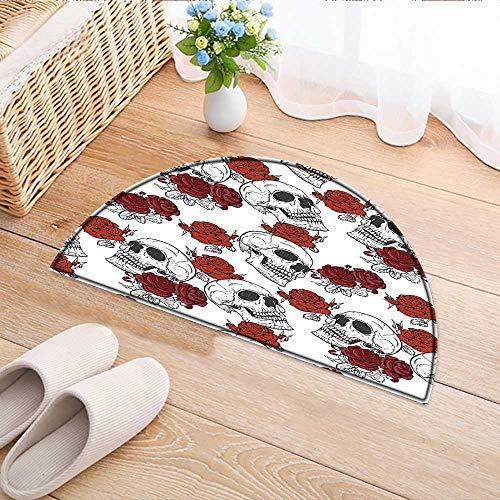 (Semicircle Area Rug Carpet Dead Skeleton with Rose Halloween Spooky Romantic Grey Door mat Indoors Bathroom Mats Non Slip W47 x H32)