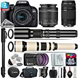 Canon EOS Rebel 800D/T7i Camera + 18-55mm IS STM Lens + 650-1300mm Telephoto Lens + EF 75 300mm F 4 5.6 III + 500mm f/8.0 Telephoto Lens + 2yr Extended Warranty + 32GB - International Version