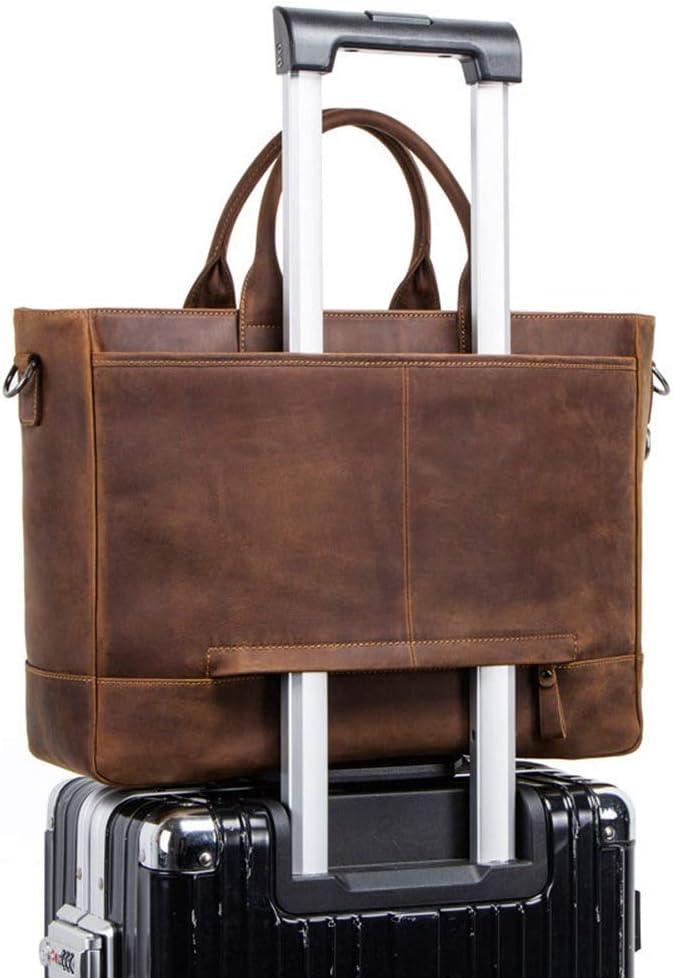 391243cm Men Nuanxingjiafang Briefcase Crazy Horse Leather Retro Casual Crossbody Bag for 15.6 Computer Briefcase