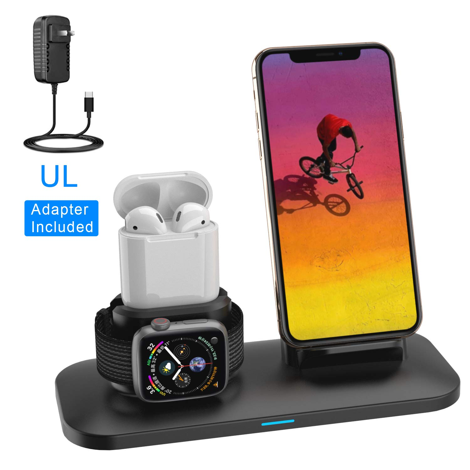 Wireless Charger, 3 in 1 Charging Station for Apple, Wireless Charging Stand Apple Watch Charger for Apple Watch and iPhone Airpod Compatible for iPhone X/XS/XR/Xs Max/8 Plus iWatch 4 3 2 1 Airpods1 2 by XDODD
