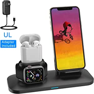 Wireless Charger, 3 in 1 Charging Station for Apple, Wireless Charging Stand Apple Watch Charger for Apple Watch and iPhone Airpod Compatible for ...