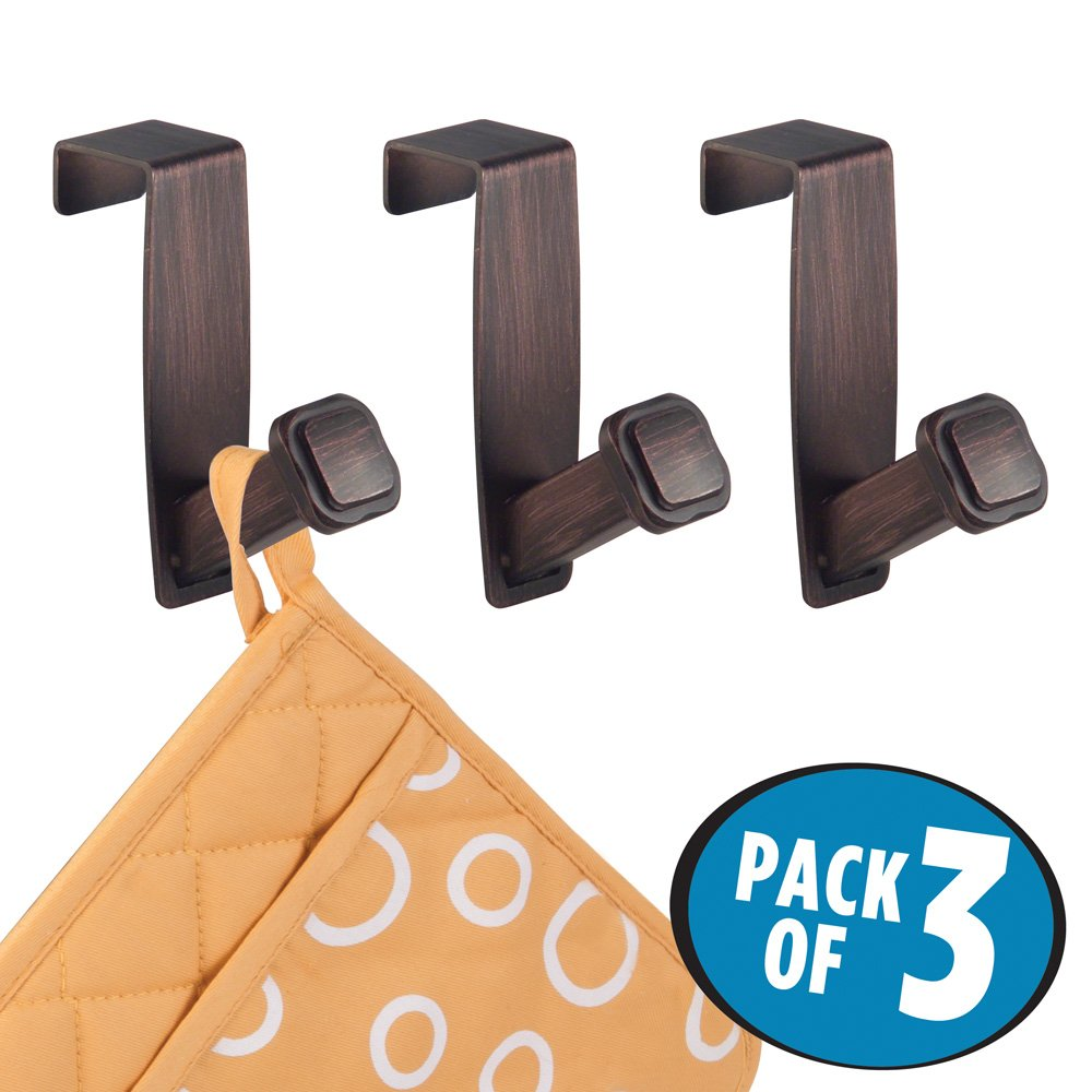 mDesign Decorative Over the Cabinet Metal Hooks for Kitchen Dish Drying Hand Towels and Pot Holders - Pack of 3, Bronze
