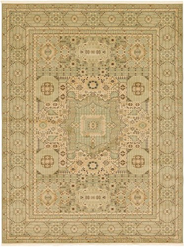 Unique Loom Palace Collection Traditoinal Geometric Classic Light Green Area Rug (9' x 12')
