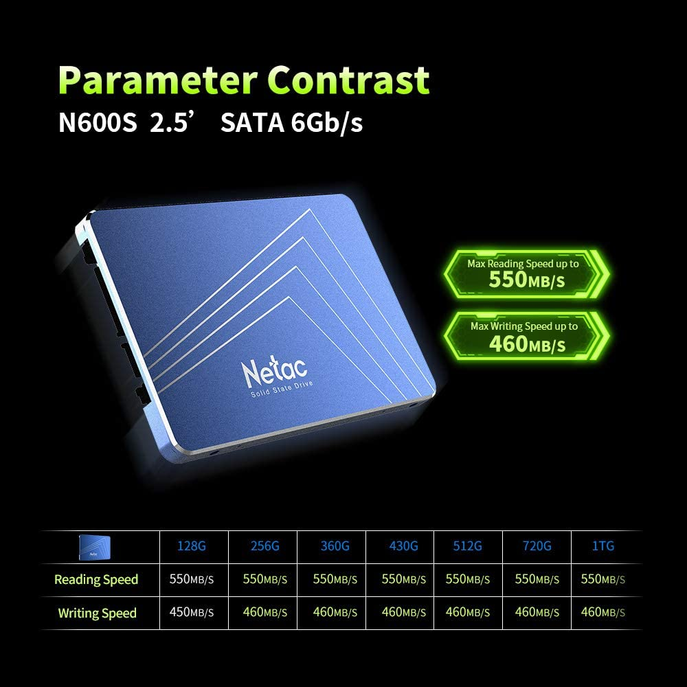 Cigooxm Netac N600S 256GB SSD 2.5in SATA6Gb//s TLC Nand Flash Solid State Drive with R//W Up to 500//400MB//s