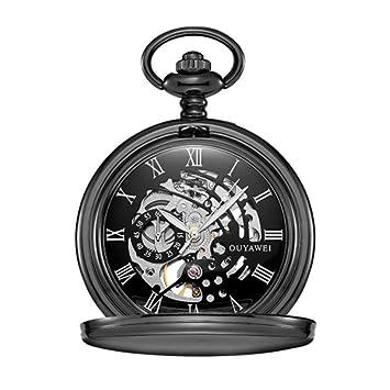 Sky God Relojes de Bolsillo Reloj de Bolsillo Mecánico para Hombres Mujeres Números Romanos Clásico Grabable con Cadena Relojes de Bolsillo Lisos Clásicos ...